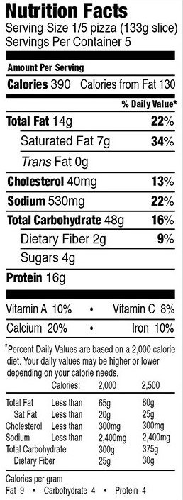 Mystic Pizza Ultimate Combo Nutrition Facts