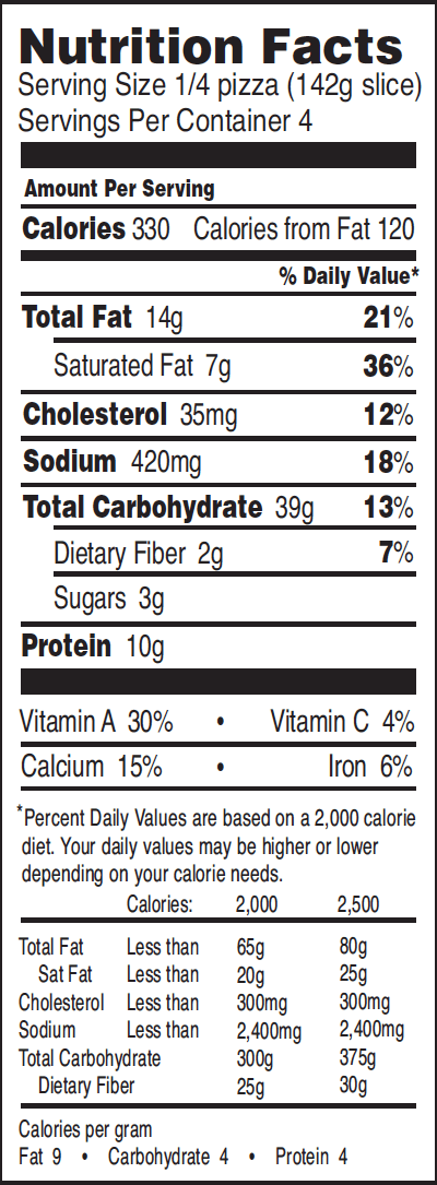 cheese pizza nutrition