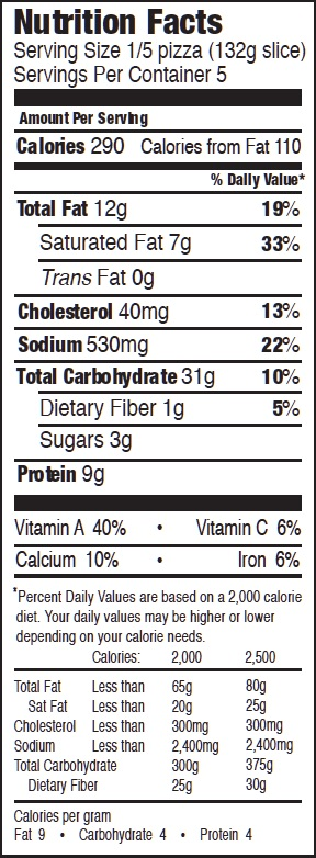 Mystic Pizza Spinach Nutrition Facts